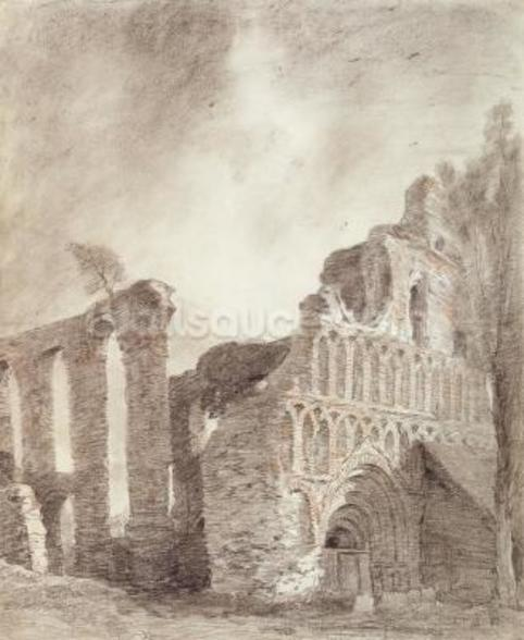 Ruin of St. Botolphs Priory, Colchester, c.1809 (chalk and pencil on paper) mural wallpaper
