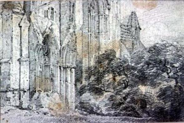 Ruins of a church (drawing) wall mural