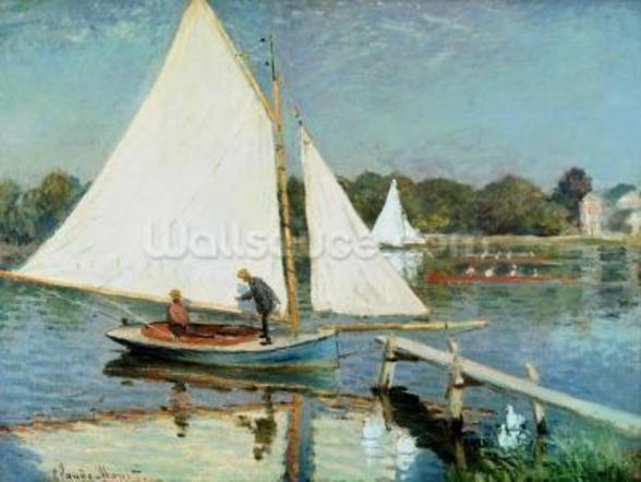 Sailing at Argenteuil, c.1874 (oil on canvas) mural wallpaper