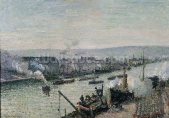 Saint-Sever Port, Rouen, 1896 (oil on canvas) mural wallpaper