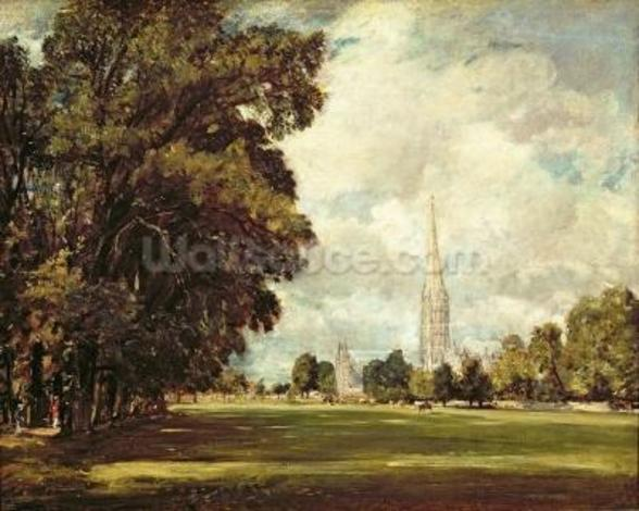 Salisbury Cathedral from Lower Marsh Close, 1820 (oil on canvas) mural wallpaper
