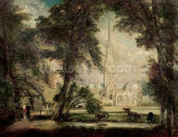 Salisbury Cathedral from the Bishops Grounds, c.1822-23 (oil on canvas) wall mural