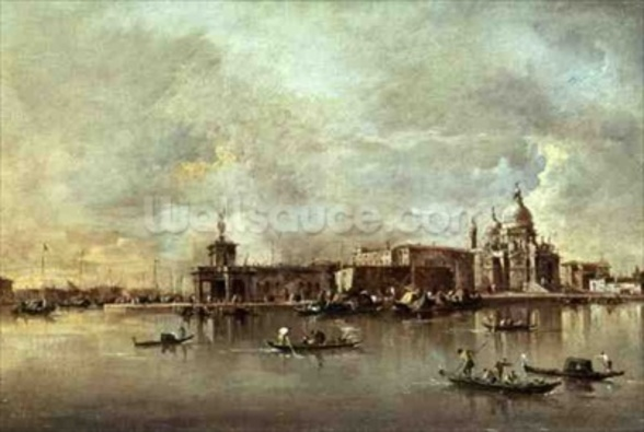 Santa Maria della Salute seen from the mouth of the Grand Canal, Venice (oil on panel) wallpaper mural