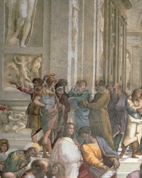 School of Athens, from the Stanza della Segnatura, 1510-11 (fresco) (detail of 472) mural wallpaper