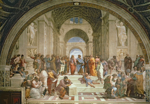 School of Athens, from the Stanza della Segnatura, 1510-11 (fresco) wall mural