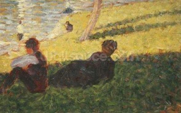 Seated man and reclining woman, study for A Sunday Afternoon on the Island of La Grande Jatte, 1884 (oil on panel) wall mural
