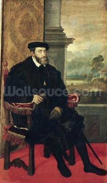 Seated Portrait of Emperor Charles V, 1548 (oil on canvas) wallpaper mural