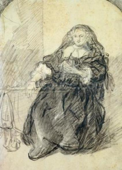 Seated Saskia with a letter in her left hand (black chalk with white bodycolour on paper) wall mural
