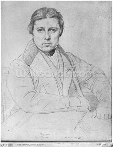 Self Portrait, 1835 (graphite on paper) (b/w photo) wall mural
