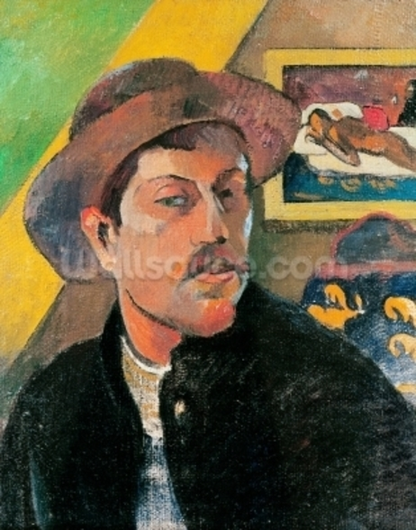 Self Portrait in a Hat, 1893-94 (oil on canvas) wall mural