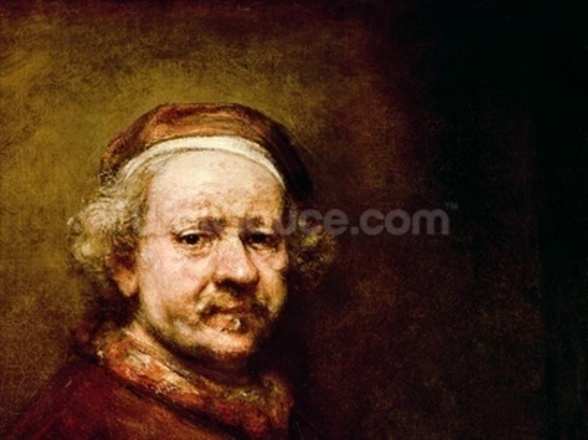 Self Portrait in at the Age of 63, 1669 (oil on canvas) (detail of 3739) mural wallpaper