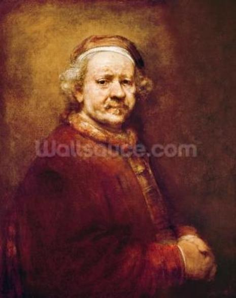 Self Portrait in at the Age of 63, 1669 (oil on canvas) mural wallpaper