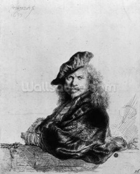 Self portrait leaning on a stone sill, 1639 (etching) (b/w photo) wall mural