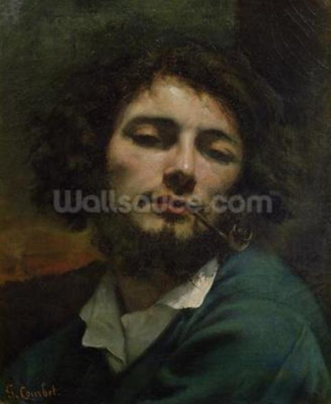 Self Portrait or, The Man with a Pipe, c.1846 (oil on canvas) wall mural
