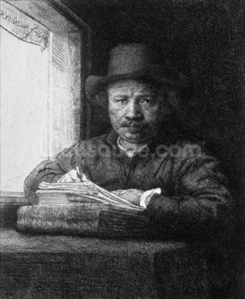 Self portrait while drawing, 1648 (etching) (b/w photo) mural wallpaper