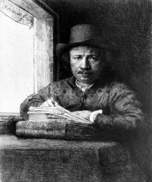 Self portrait while drawing, 1648 (etching) wallpaper mural