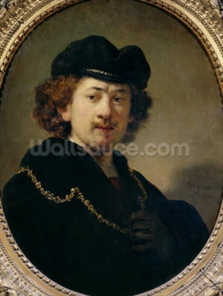 Self Portrait with Hat and Gold Chain, 1633 (oil on panel) wallpaper mural