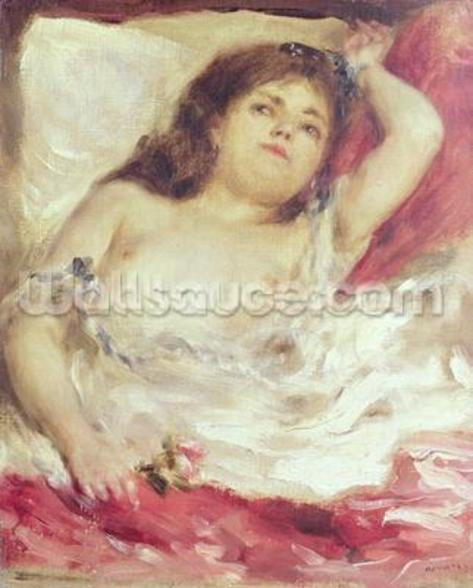 Semi-Nude Woman in Bed: The Rose, before 1872 (oil on canvas) wallpaper mural