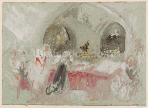 Service in the chapel at Petworth, 1830 (gouache) wall mural