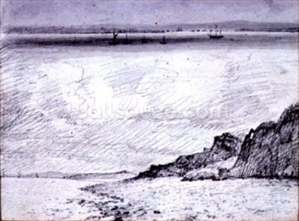 Sheerness; Coast scene near Southend, 1814 (drawing) mural wallpaper
