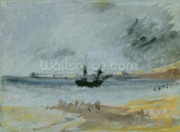 Ship Aground, Brighton, 1830 (black ink, w/c & bodycolour on paper) wallpaper mural