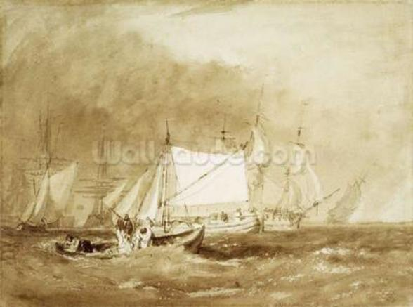 Shipping Scene, with Fishermen, c.1815-20 (brush & brown ink on paper) wallpaper mural