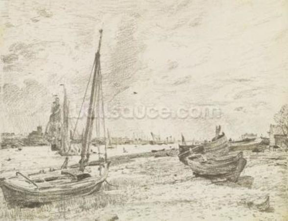 Shipping on the Thames, c.1818 (graphite on paper) mural wallpaper