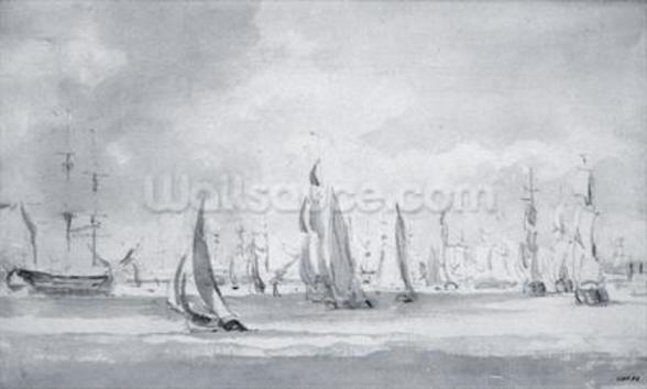 Shipping in the Thames (graphite on paper) wallpaper mural
