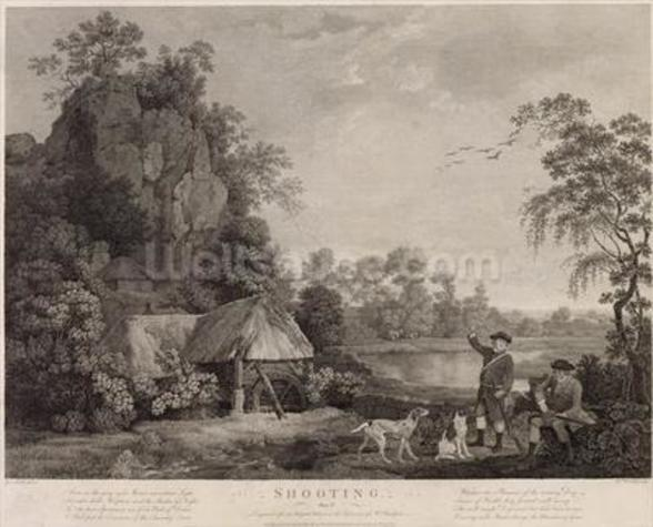 Shooting, plate 1, engraved by William Woollett (1735-85) 1769 (fifth state engraving and etching) mural wallpaper