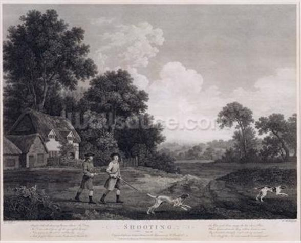 Shooting, plate 2, engraved by William Woollett (1735-85) 1770 (fifth state engraving and etching) wall mural