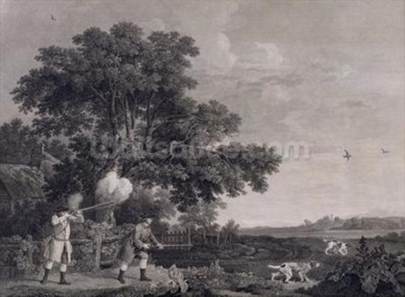 Shooting, plate 3, engraved by William Woollett (1735-85) 1770 (engraving with etching) mural wallpaper