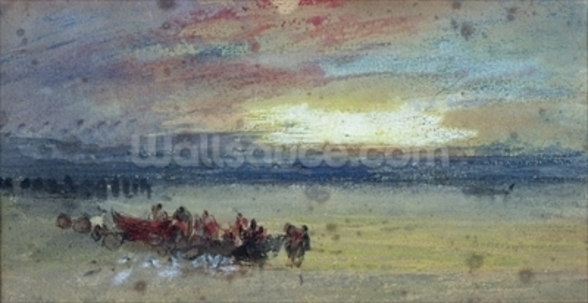 Shore Scene, Sunset (w/c on paper) wall mural