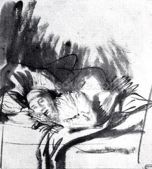 Sick woman in a bed, maybe Saskia, wife of the painter, c.1640 (pen & bistre on paper) (b/w photo) wall mural