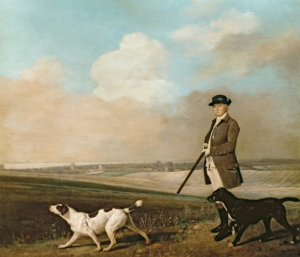 Sir John Nelthorpe, 6th Baronet out Shooting with his Dogs in Barton Field, Lincolnshire, 1776 (oil on panel) wall mural