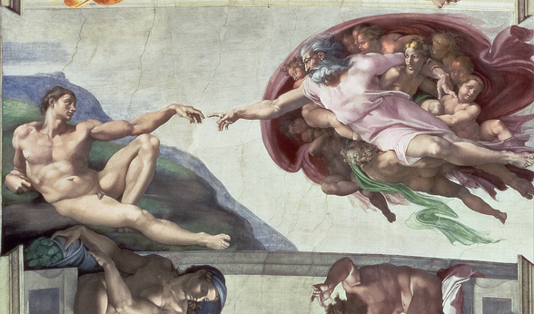 Sistine Chapel Ceiling (1508-12): The Creation of Adam, 1511-12 (fresco) (post restoration) wall mural
