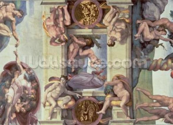 Sistine Chapel Ceiling (1508-12): The Creation of Eve, 1510 (fresco) (post restoration) wall mural