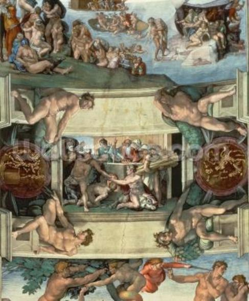 Sistine Chapel Ceiling (1508-12): The Sacrifice of Noah, 1508-10 (fresco) (post restoration) wall mural