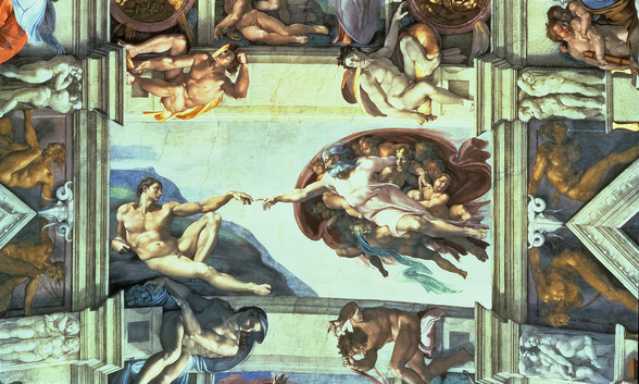 Sistine Chapel Ceiling: Creation of Adam, 1510 (fresco) (post restoration) wallpaper mural