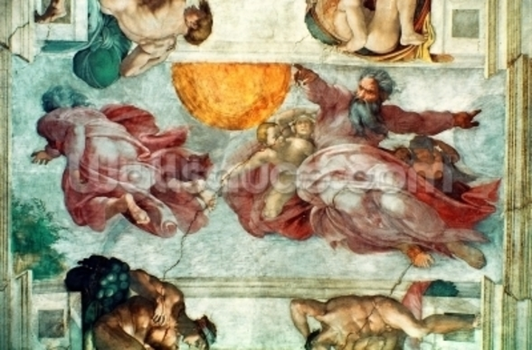 Sistine Chapel Ceiling: Creation of the Sun and Moon, 1508-12 (fresco) wall mural