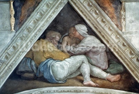 Sistine Chapel Ceiling: The Ancestors of Christ (pre restoration) wall mural