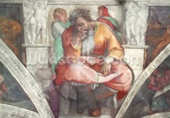 Sistine Chapel Ceiling: The Prophet Jeremiah (pre resoration) mural wallpaper