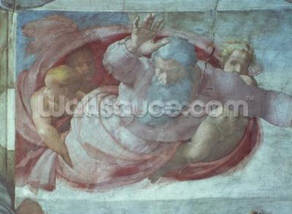 Sistine Chapel: God Dividing the Waters and Earth (pre restoration) (detail) mural wallpaper