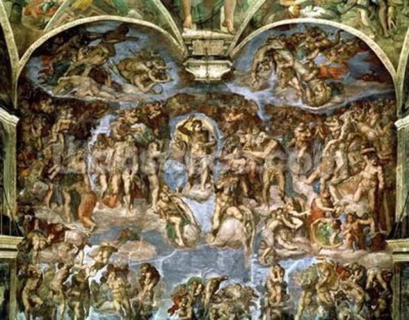 Sistine Chapel: The Last Judgement, 1538-41 (fresco) (pre-restoration) wall mural