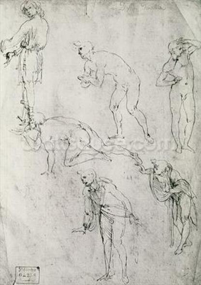 Six Figures, Study for an Epiphany (pen and ink on paper) wall mural
