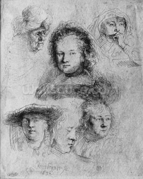 Six heads with Saskia van Uylenburgh (1612-42) in the centre, 1636 (etching) (b/w photo) wall mural