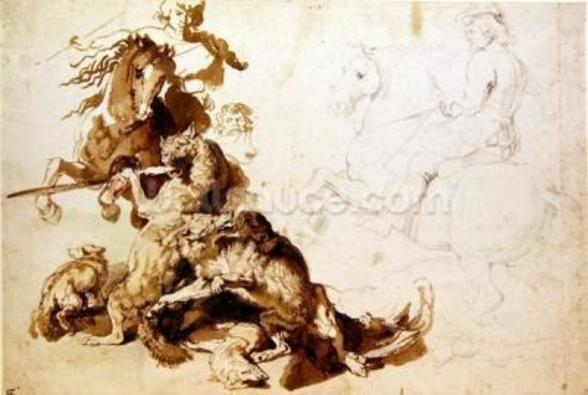Sketch for a Wolf Hunt (pencil with w/c on paper) mural wallpaper
