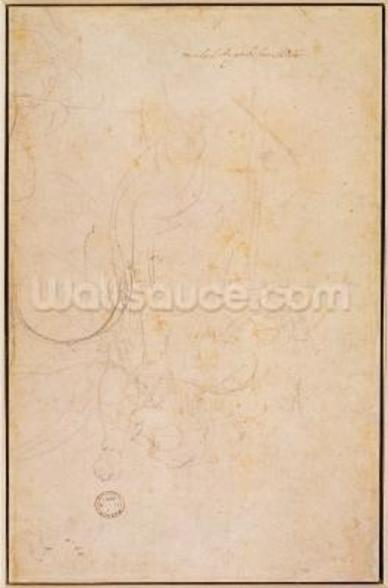 Sketch of a figure with artists signature (charcoal on paper) (verso) wall mural