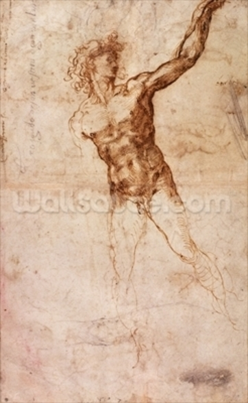 Sketch of a Nude Man (W. 4 recto) (pen & ink on paper) wall mural