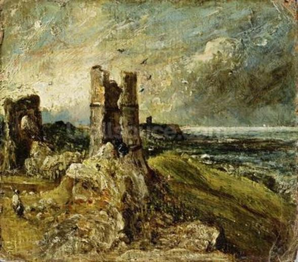 Sketch of Hadleigh Castle (recto) (oil on millboard) wall mural