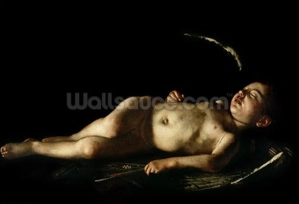 Sleeping Cupid, 1608 (oil on canvas) wallpaper mural